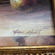 Arte: L008 CUADRO TEMA BODEGON PINTURA OLEO PINTOR VAN HUNT CON MARCO DORADO. Lote 158788138