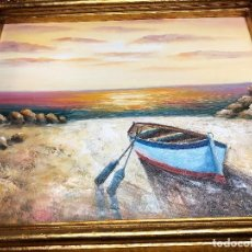 Arte: L010 CUADRO OLEO TEMA BARCA CON MARCO DORADO. Lote 158788486