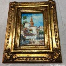 Arte: L023 CUADRO TEMA CIUDAD TORRE CON MARCO DORADO. Lote 158791414