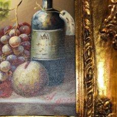 Arte: L025 CUADRO OLEO TEMA BODEGON CON MARCO DORADO. Lote 158791834