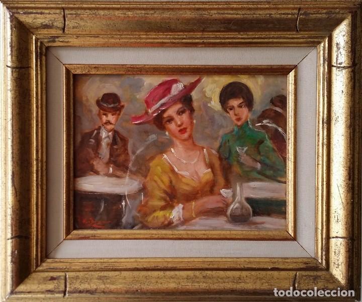 LUIGI DI ROCCA, CAFÉ CHANTANT, ÓLEO SOBRE TABLA (Arte - Pintura - Pintura al Óleo Contemporánea )