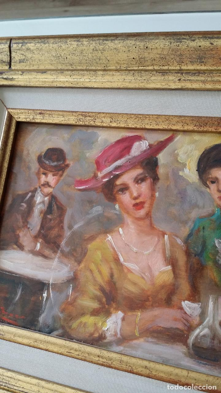 Arte: Luigi di Rocca, Café Chantant, óleo sobre tabla - Foto 3 - 158807602