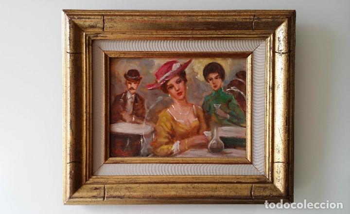 Arte: Luigi di Rocca, Café Chantant, óleo sobre tabla - Foto 7 - 158807602