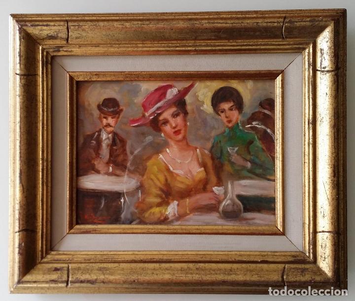 Arte: Luigi di Rocca, Café Chantant, óleo sobre tabla - Foto 17 - 158807602