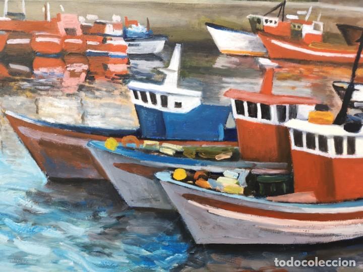 Arte: Zelada, Miguel. (A Coruña, 1942) Dársena. Óleo sobre lienzo - Foto 2 - 158816362