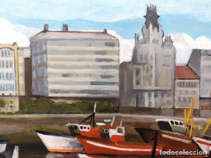 Arte: Zelada, Miguel. (A Coruña, 1942) Dársena. Óleo sobre lienzo - Foto 3 - 158816362