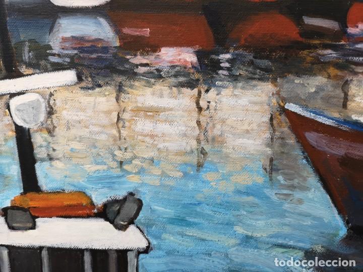 Arte: Zelada, Miguel. (A Coruña, 1942) Dársena. Óleo sobre lienzo - Foto 4 - 158816362