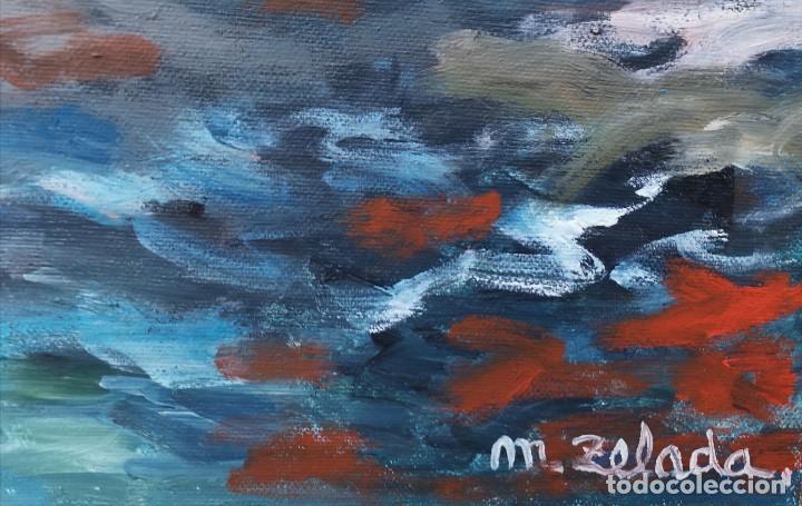 Arte: Zelada, Miguel. (A Coruña, 1942) Dársena. Óleo sobre lienzo - Foto 5 - 158816362