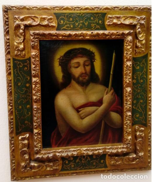 ÓLEO S/LIENZO -ECCE HOMO-. 62,5X53 CMS. ESC BARROCA SEVILLANA S. XVII CÍRCULO MURILLO (Arte - Pintura - Pintura al Óleo Antigua siglo XVII)