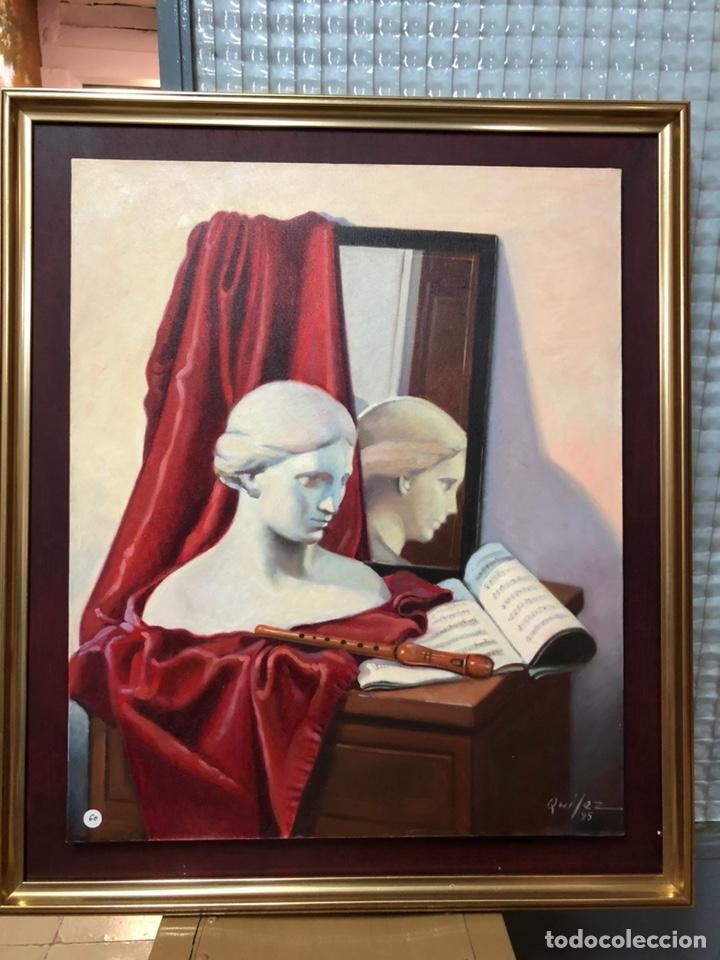 CUADRO AL ÓLEO SOBRE LIENZO DE EMILIO QUÍLEZ SIERRA 'LA MÚSICA' (1995) (Arte - Pintura Directa del Autor)
