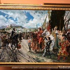 Arte: CUADRO AL ÓLEO SOBRE LIENZO DE FRANCISCO PRADILLA 'LA RENDICIÓN DE GRANADA'. COPIA DE EMILIO QUÍLEZ. Lote 158954638