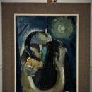 Arte: EL BESO, INTERESANTE OLEO CUBISTA. Lote 158972186