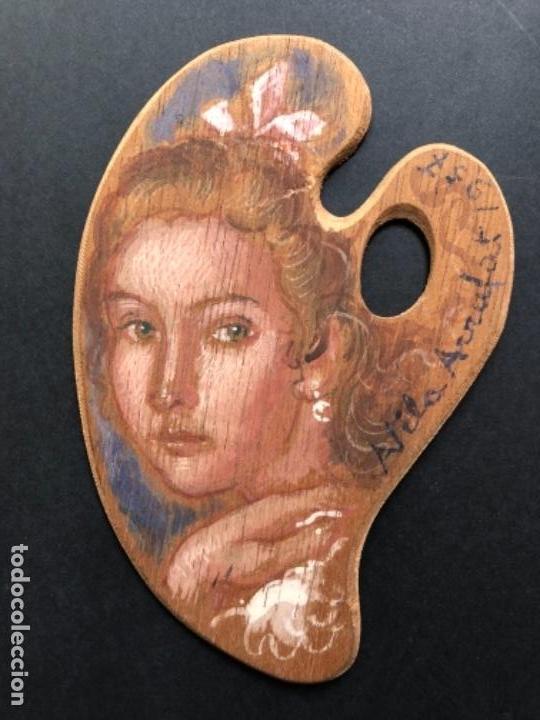 ÓLEO SOBRE PALETA, RETRATO MUJER, FIRMADO VILA ARRUGAT, 14X9 CM (Arte - Pintura - Pintura al Óleo Moderna sin fecha definida)