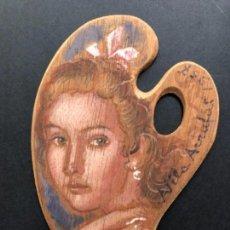 Arte: ÓLEO SOBRE PALETA, RETRATO MUJER, FIRMADO VILA ARRUGAT, 14X9 CM. Lote 159050854