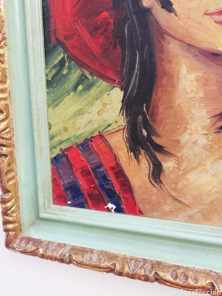 Arte: Cuadro retrato pintura a mano técnica espátula oleo sobre tela no firmada - Foto 2 - 159054032