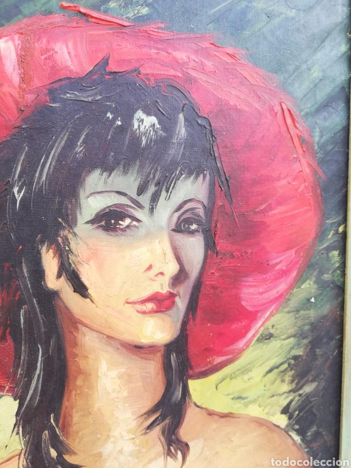 Arte: Cuadro retrato pintura a mano técnica espátula oleo sobre tela no firmada - Foto 3 - 159054032