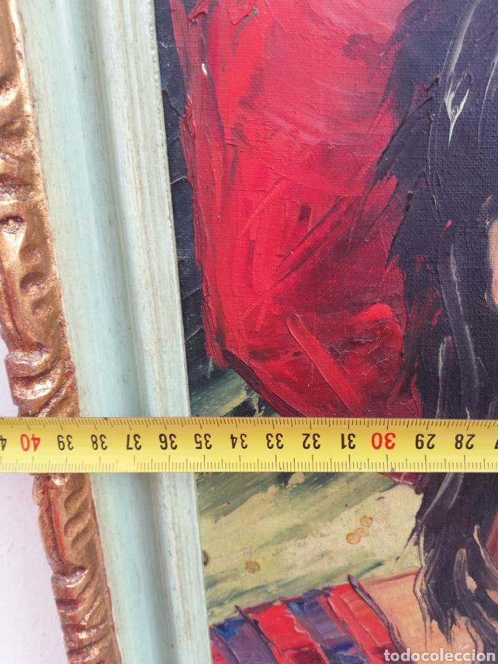 Arte: Cuadro retrato pintura a mano técnica espátula oleo sobre tela no firmada - Foto 7 - 159054032
