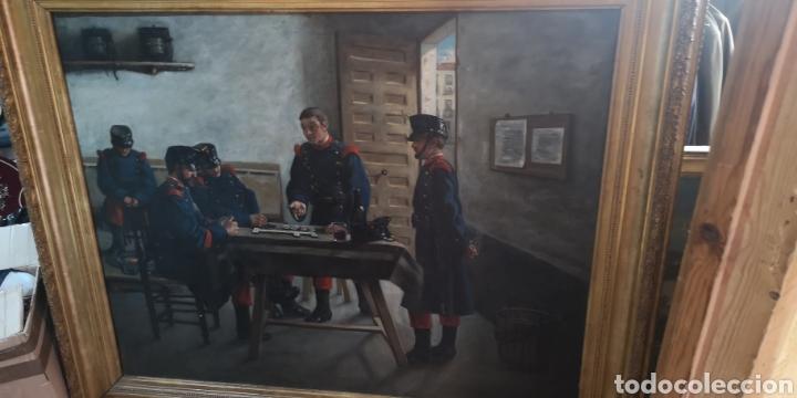ÓLEO SOBRE LIENZO REPRESENTANDO ESCENA DE CUARTEL ÉPOCA ALFONSO XIII (Arte - Pintura - Pintura al Óleo Moderna siglo XIX)