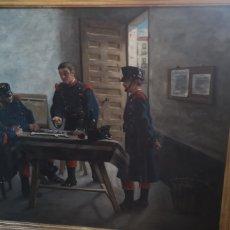 Arte: ÓLEO SOBRE LIENZO REPRESENTANDO ESCENA DE CUARTEL ÉPOCA ALFONSO XIII. Lote 159068192