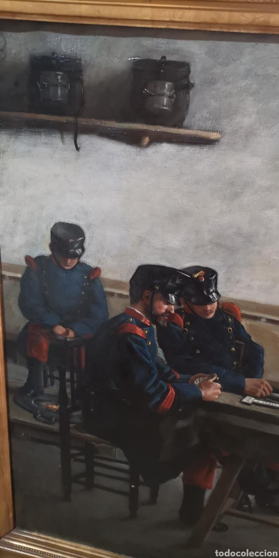 Arte: Óleo sobre lienzo representando escena de cuartel época Alfonso XIII - Foto 2 - 159068192