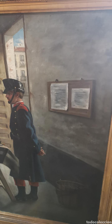 Arte: Óleo sobre lienzo representando escena de cuartel época Alfonso XIII - Foto 4 - 159068192