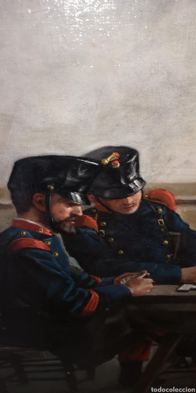Arte: Óleo sobre lienzo representando escena de cuartel época Alfonso XIII - Foto 5 - 159068192