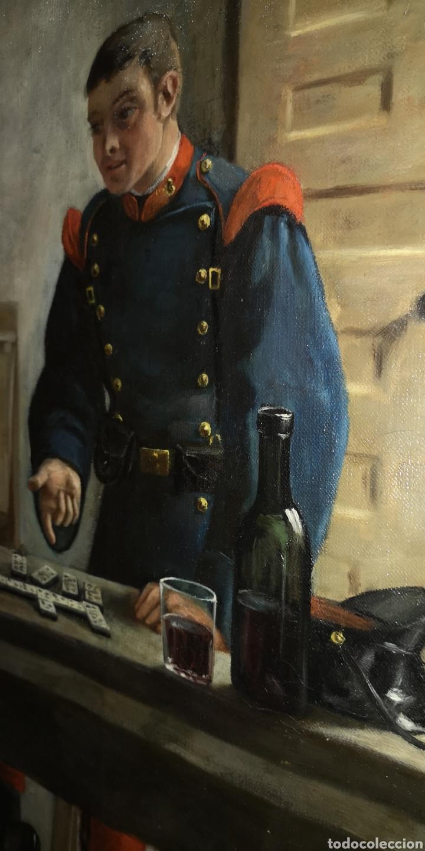 Arte: Óleo sobre lienzo representando escena de cuartel época Alfonso XIII - Foto 6 - 159068192