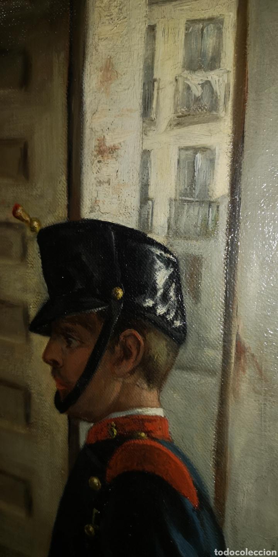 Arte: Óleo sobre lienzo representando escena de cuartel época Alfonso XIII - Foto 7 - 159068192