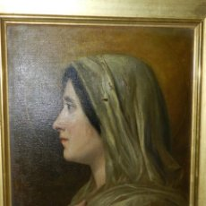 Arte: (M) RICARDO BRUGADA Y PANIZO , BARCELONA 1867 - 1919 , ÓLEO RELIGIOSO S.XIX , ENMARCADO. Lote 159111454