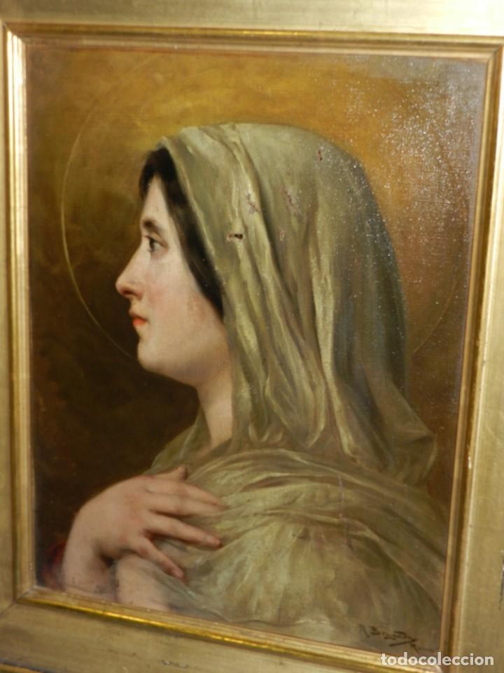 Arte: (M) RICARDO BRUGADA Y PANIZO , BARCELONA 1867 - 1919 , ÓLEO RELIGIOSO S.XIX , ENMARCADO - Foto 2 - 159111454