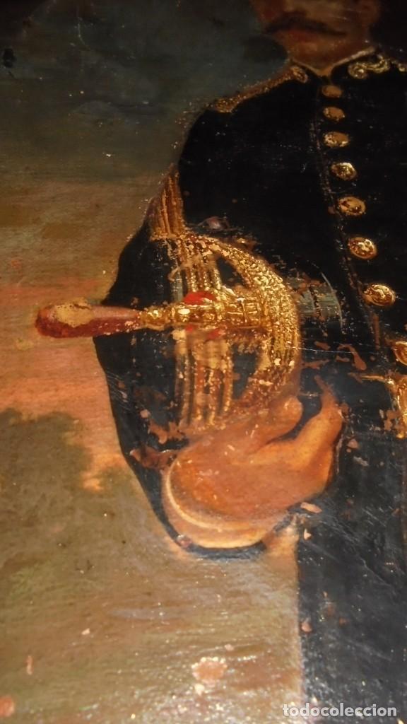Arte: (M) MILITAR - ANTIGUO LIENZO PINTADO AL OLEO MILITAR ESPAÑOL S. XIX CON SU MARCO DE EPOCA (marco - Foto 5 - 159196870