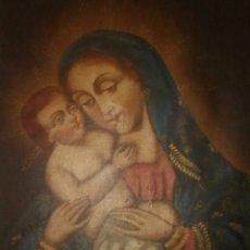 Arte: ESPECTACULAR ÓLEO S. XVIII-XIX.CUADRO DE VIRGEN MARÍA CON NIÑO.CUADRO MUY ANTIGUO.. Lote 245240365