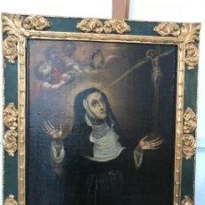Arte: SANTA FUNDADORA EN EXTASIS, MAGNIFICO MARCO BARROCO. Lote 159409042