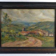 Arte: RAMON BARNADAS Y FABREGAS (OLOT, 1909-BARCELONA 1981) ÓLEO SOBRE TÁBLEX PAISEJE PUEBLO DE INTERIOR. Lote 159418802
