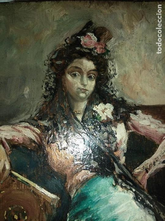CUADRO OLEO SOBRE TABLA FIRMADO DENIS MUY ANTIGUO MUJER SENTADA SIGLO XIX ESCUELA MALAGUEÑA (Arte - Pintura - Pintura al Óleo Moderna siglo XIX)