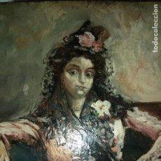 Arte: CUADRO OLEO SOBRE TABLA FIRMADO DENIS MUY ANTIGUO MUJER SENTADA SIGLO XIX ESCUELA MALAGUEÑA. Lote 159423202