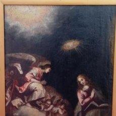 Arte: ÓLEO S/LIENZO, REENTELADO DE ÉPOCA. ANUNCIACIÓN. SIGLO XVII -ESCUELA ITALIANA-. DIM.- 80X69 CMS. Lote 159442406