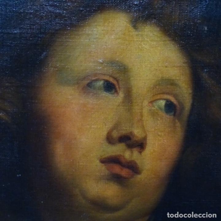 Arte: Excelente óleo sobre tela de saco del s. Xviii.gran calidad.maestro.retrato.anonimo.marco de época. - Foto 2 - 159443610