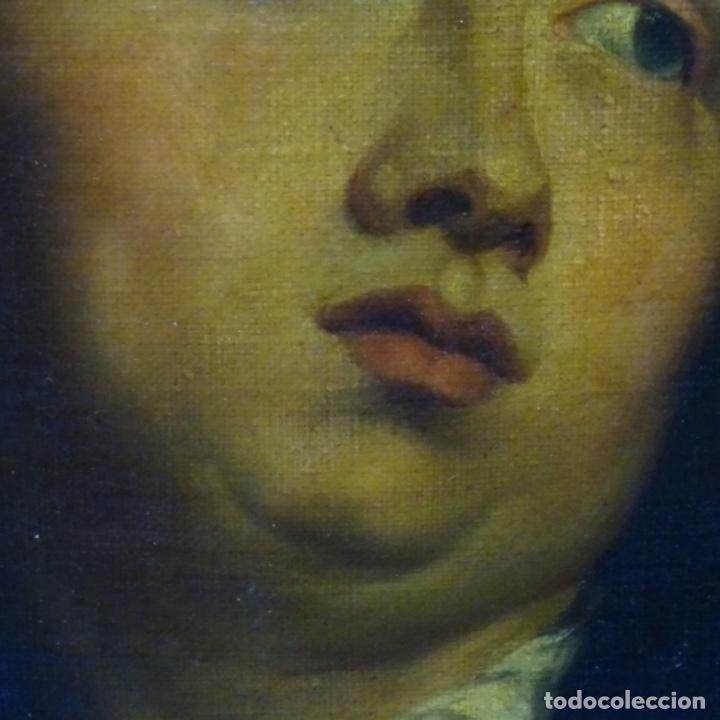 Arte: Excelente óleo sobre tela de saco del s. Xviii.gran calidad.maestro.retrato.anonimo.marco de época. - Foto 3 - 159443610