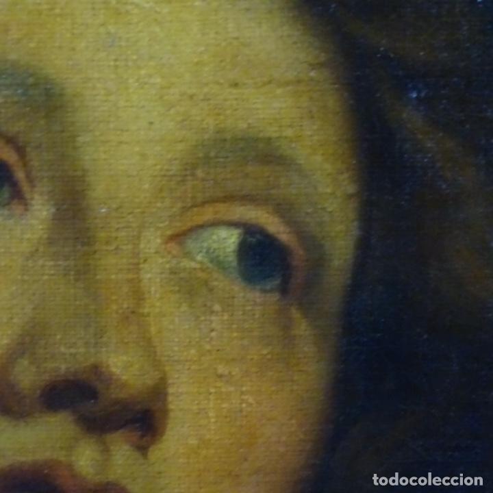 Arte: Excelente óleo sobre tela de saco del s. Xviii.gran calidad.maestro.retrato.anonimo.marco de época. - Foto 4 - 159443610