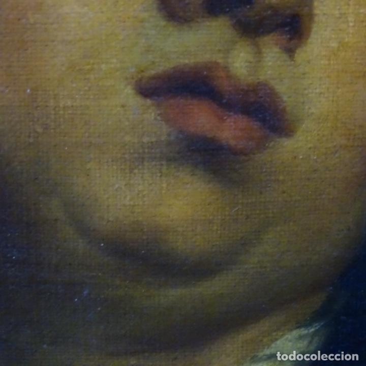 Arte: Excelente óleo sobre tela de saco del s. Xviii.gran calidad.maestro.retrato.anonimo.marco de época. - Foto 5 - 159443610