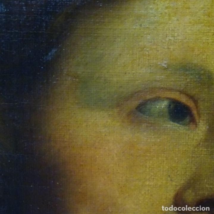 Arte: Excelente óleo sobre tela de saco del s. Xviii.gran calidad.maestro.retrato.anonimo.marco de época. - Foto 7 - 159443610