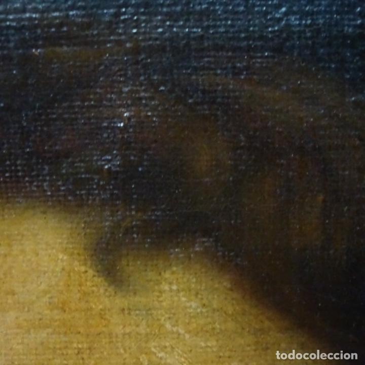 Arte: Excelente óleo sobre tela de saco del s. Xviii.gran calidad.maestro.retrato.anonimo.marco de época. - Foto 8 - 159443610