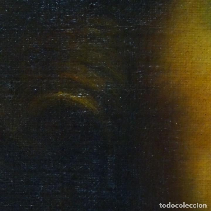 Arte: Excelente óleo sobre tela de saco del s. Xviii.gran calidad.maestro.retrato.anonimo.marco de época. - Foto 9 - 159443610