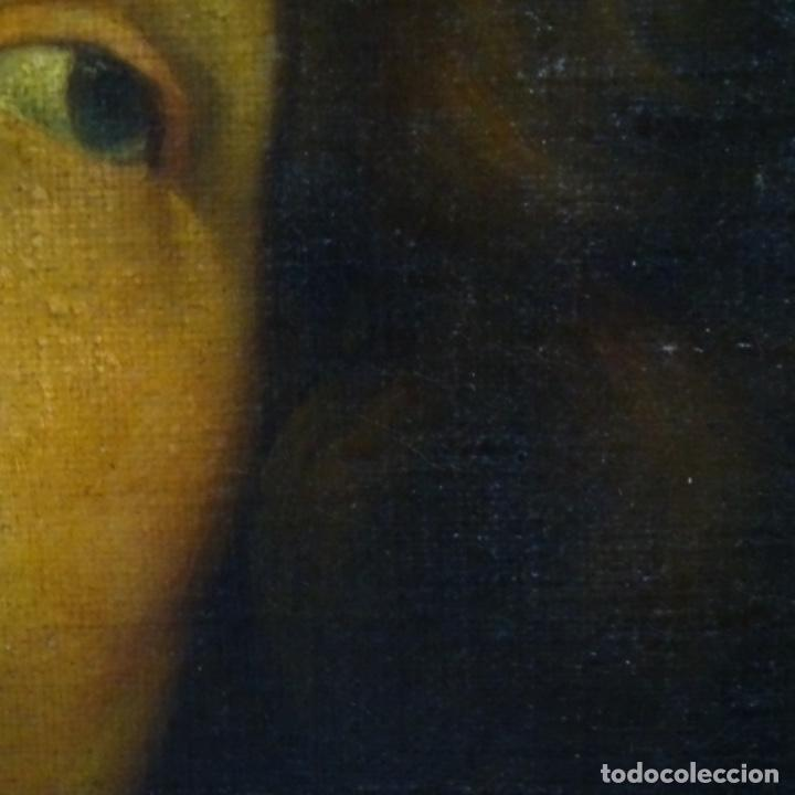 Arte: Excelente óleo sobre tela de saco del s. Xviii.gran calidad.maestro.retrato.anonimo.marco de época. - Foto 13 - 159443610