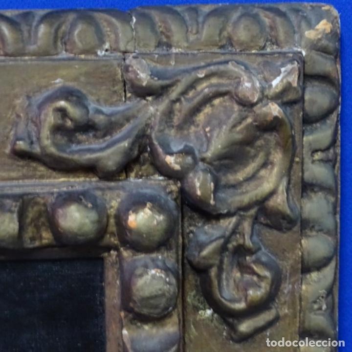 Arte: Excelente óleo sobre tela de saco del s. Xviii.gran calidad.maestro.retrato.anonimo.marco de época. - Foto 14 - 159443610