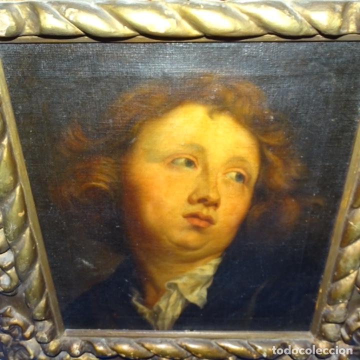 Arte: Excelente óleo sobre tela de saco del s. Xviii.gran calidad.maestro.retrato.anonimo.marco de época. - Foto 17 - 159443610