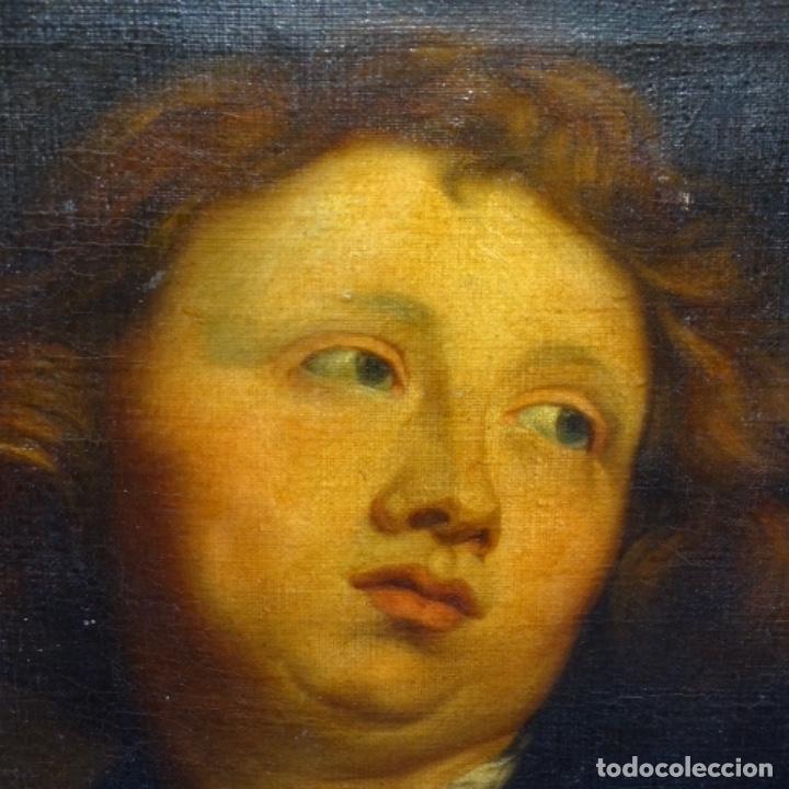 Arte: Excelente óleo sobre tela de saco del s. Xviii.gran calidad.maestro.retrato.anonimo.marco de época. - Foto 18 - 159443610