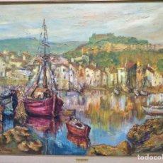 Art: CASTILLO DE DÉNIA Y PUERTO ANTIGUO. PINTURA AL ÓLEO DE SOLEDAD GÓMEZ. 92 X 73 CM. Lote 159444694