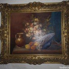 Arte: PRECIOSO Y ANTIGUO BODEGÓN EN OLEO SOBRE LIENZO CON FIRMA A IDENTIFICAR. BONITO MARCO. Lote 159447293